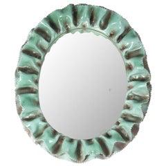 Italian White and Green Glazed Ceramic 1950s Wall Mirror by La Farnesiana, Parma