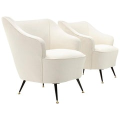 Italian White Armchair, 1950s, Set of 2