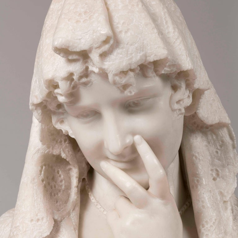 Renaissance Revival Italian White Carrara Marble Bust of a Shy Maiden by Lapini, 1896