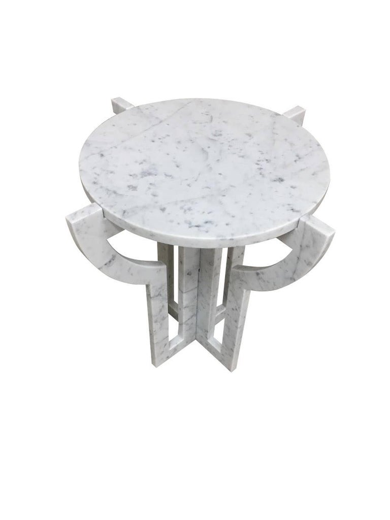 Italian White Carrara Marble Cocktail Table, Contemporary In New Condition For Sale In New York, NY