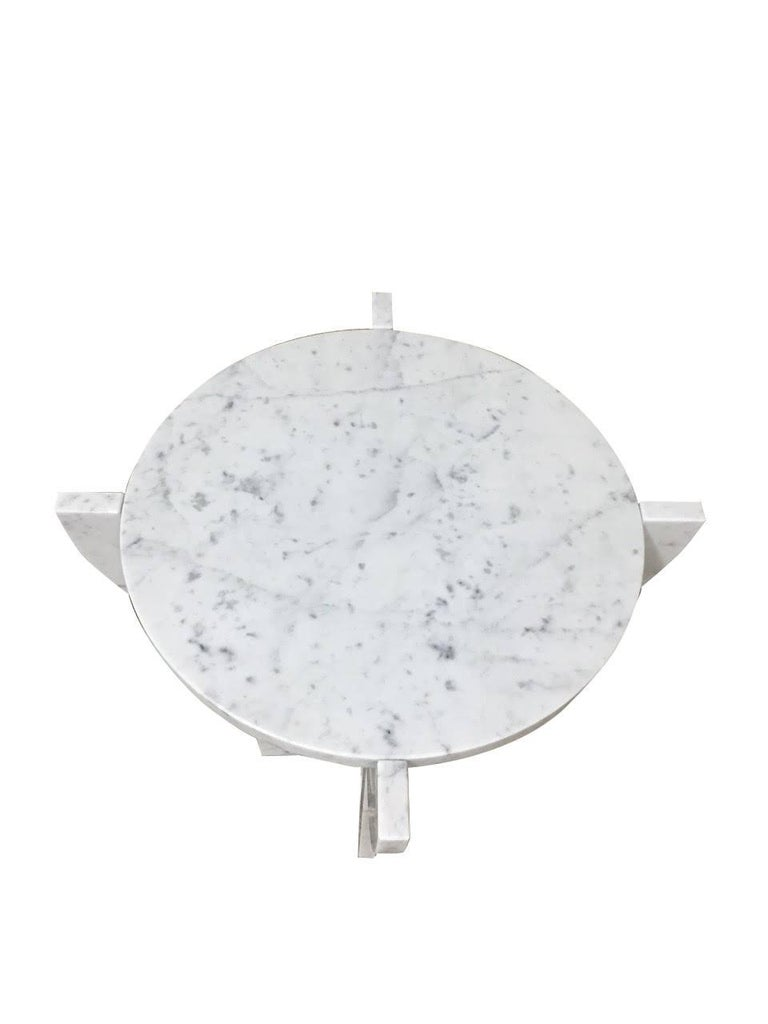 Italian White Carrara Marble Cocktail Table, Contemporary For Sale 1