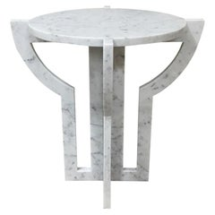 Italian White Carrara Marble Cocktail Table, Contemporary