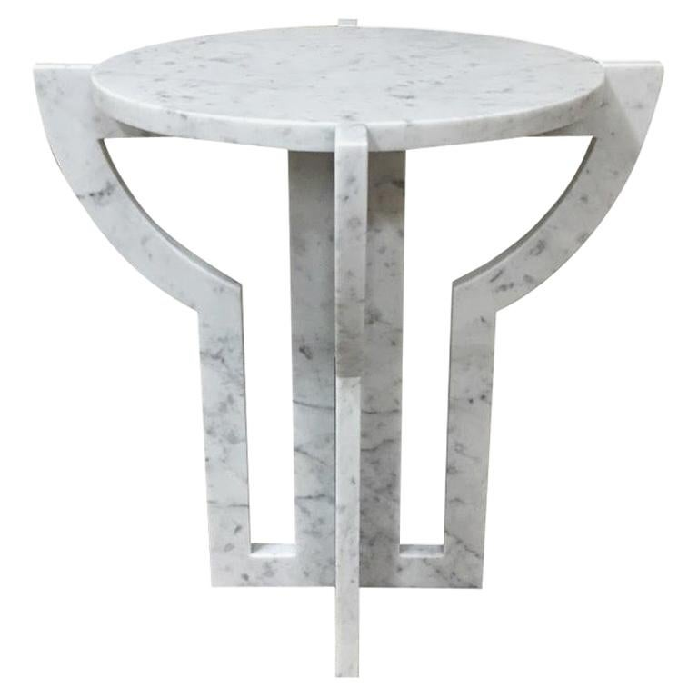 Italian White Carrara Marble Cocktail Table, Contemporary For Sale