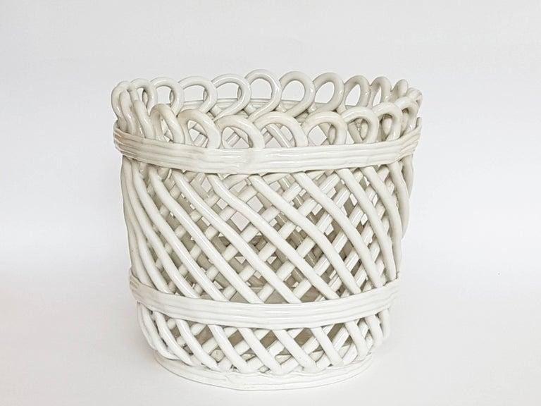 Italian white ceramic cachepot by società ceramica italiana laveno