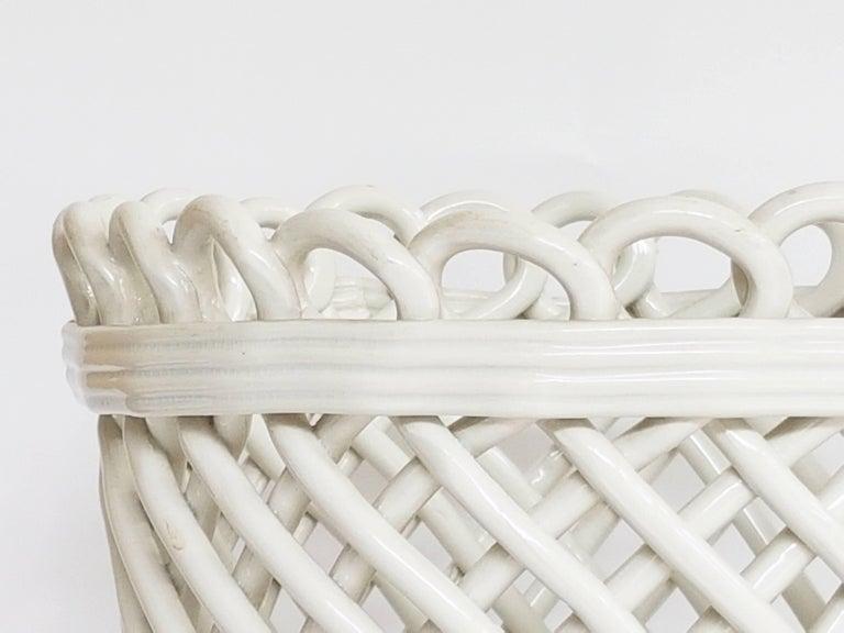 Mid-Century Modern Italian White Ceramic Cachepot by Società Ceramica Italiana Laveno, 1950s For Sale