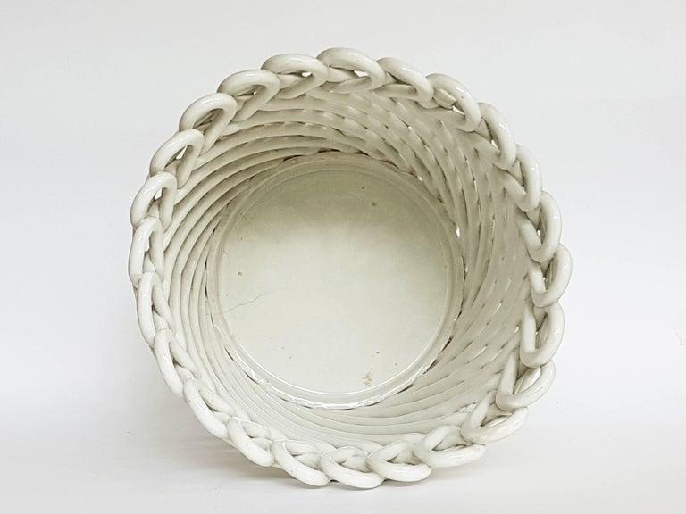 Mid-20th Century Italian White Ceramic Cachepot by Società Ceramica Italiana Laveno, 1950s For Sale