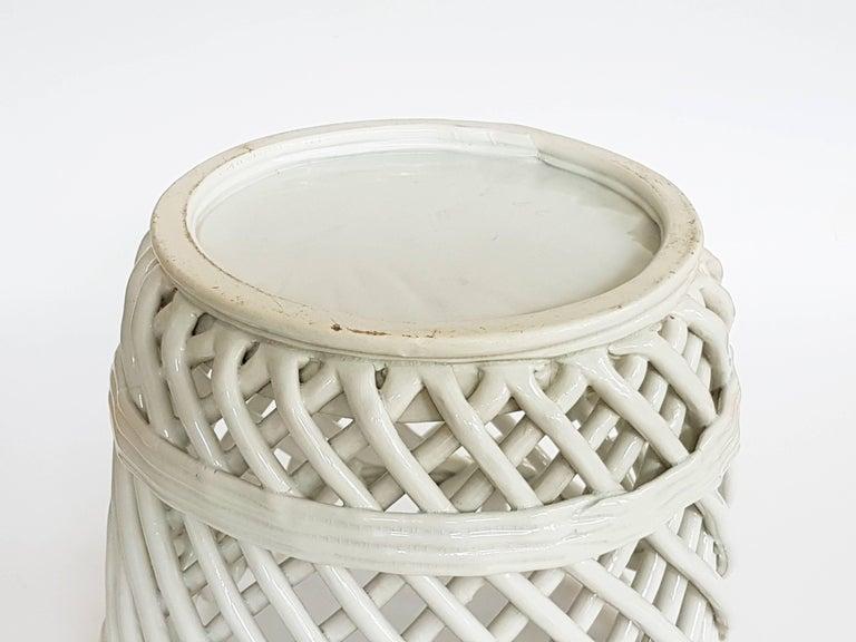 Italian White Ceramic Cachepot by Società Ceramica Italiana Laveno, 1950s For Sale 1