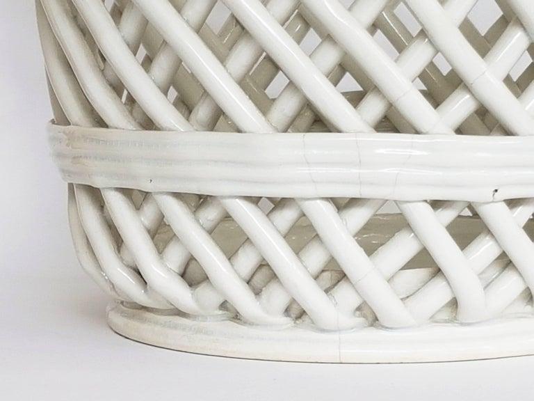Italian White Ceramic Cachepot by Società Ceramica Italiana Laveno, 1950s For Sale 2