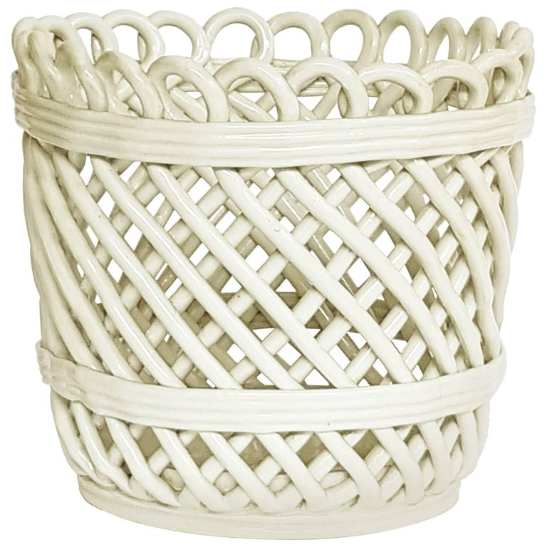 Italian White Ceramic Cachepot by Società Ceramica Italiana Laveno, 1950s For Sale
