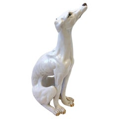 Italian White Ceramic Greyhound Sculpture