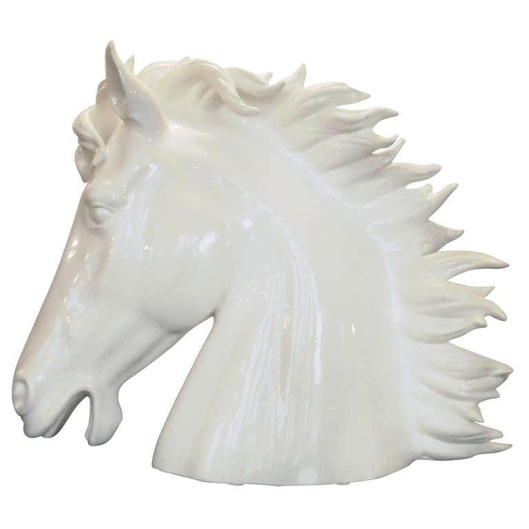 Italian White Ceramic Horse Head Sculpture, 1990s
