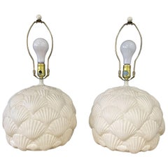 Italian White Ceramic Pair of Table Lamps with a Seashell Motif Mid Century