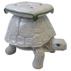 Italian White Ceramic Tortoise Garden Stool