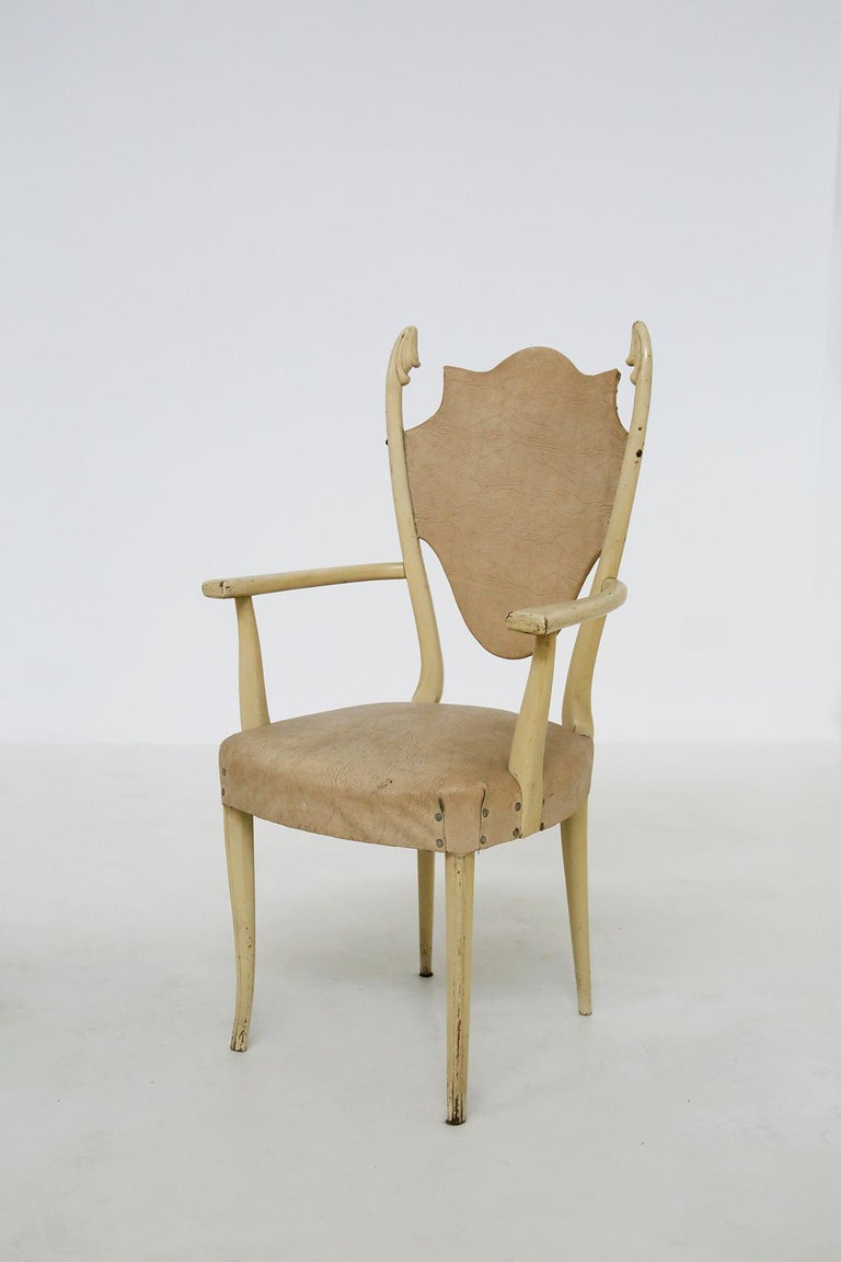 Italian White Chairs by Carlo Enrico Rava in Lacquered Ash Six Pieces, 1950s For Sale 4