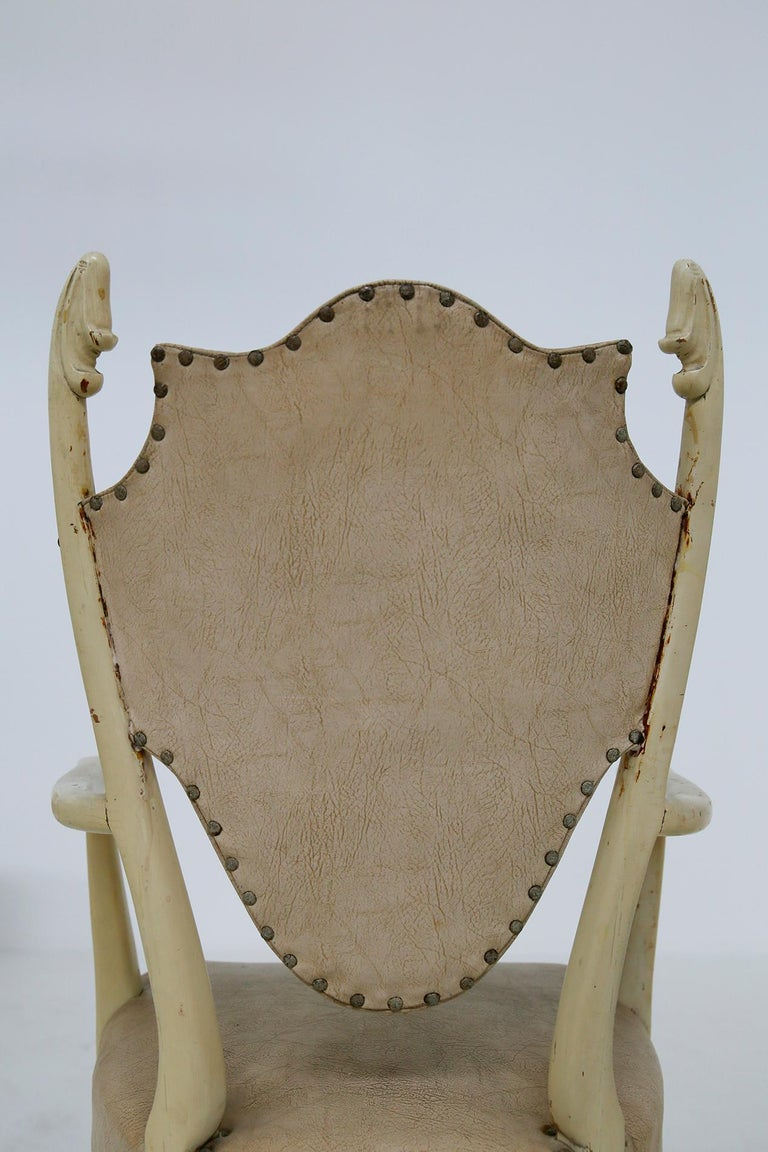 Italian White Chairs by Carlo Enrico Rava in Lacquered Ash Six Pieces, 1950s For Sale 5
