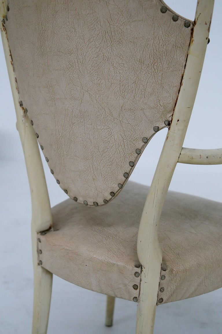 Italian White Chairs by Carlo Enrico Rava in Lacquered Ash Six Pieces, 1950s For Sale 6