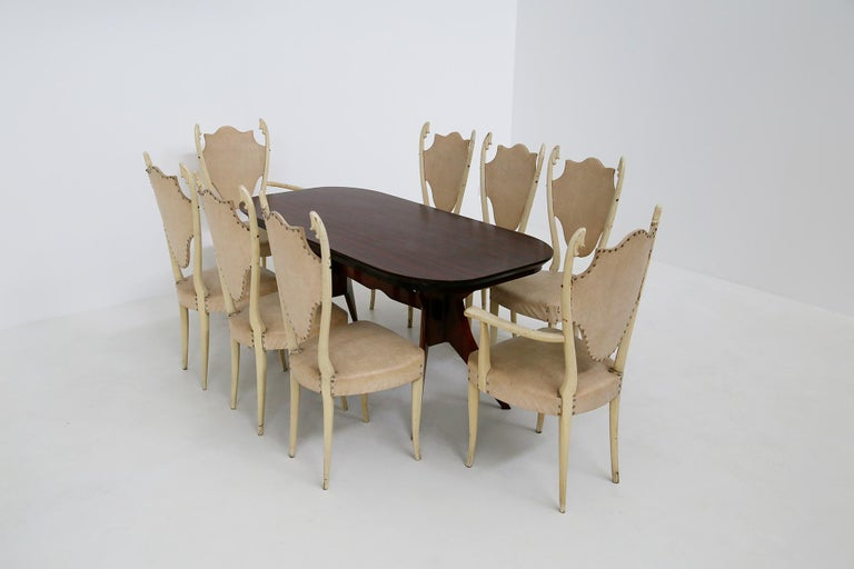 Italian White Chairs by Carlo Enrico Rava in Lacquered Ash Six Pieces, 1950s For Sale 7