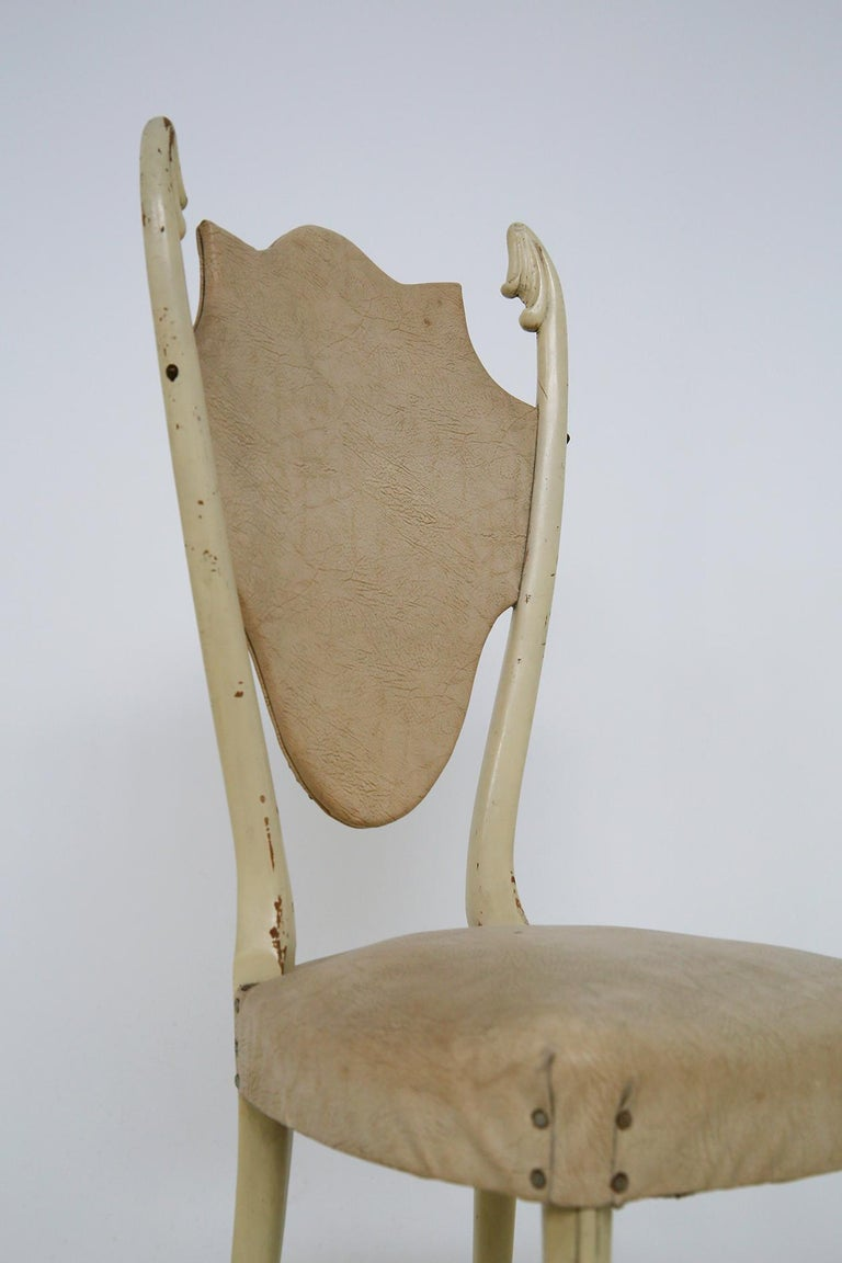 Italian White Chairs by Carlo Enrico Rava in Lacquered Ash Six Pieces, 1950s For Sale 8