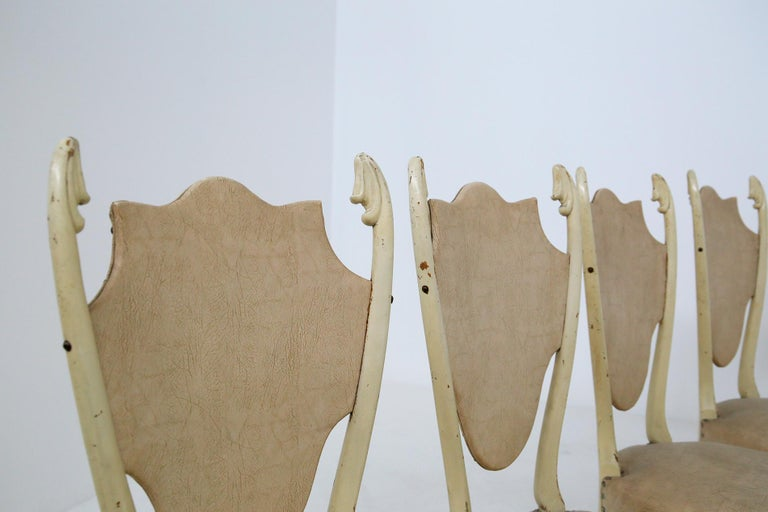 Mid-Century Modern Italian White Chairs by Carlo Enrico Rava in Lacquered Ash Six Pieces, 1950s For Sale