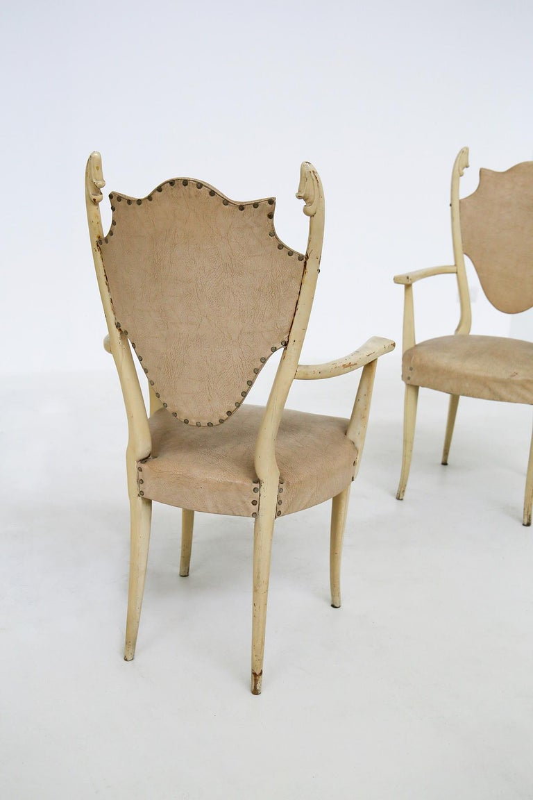 Italian White Chairs by Carlo Enrico Rava in Lacquered Ash Six Pieces, 1950s In Good Condition For Sale In Milano, IT