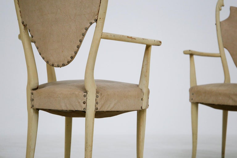 Mid-20th Century Italian White Chairs by Carlo Enrico Rava in Lacquered Ash Six Pieces, 1950s For Sale