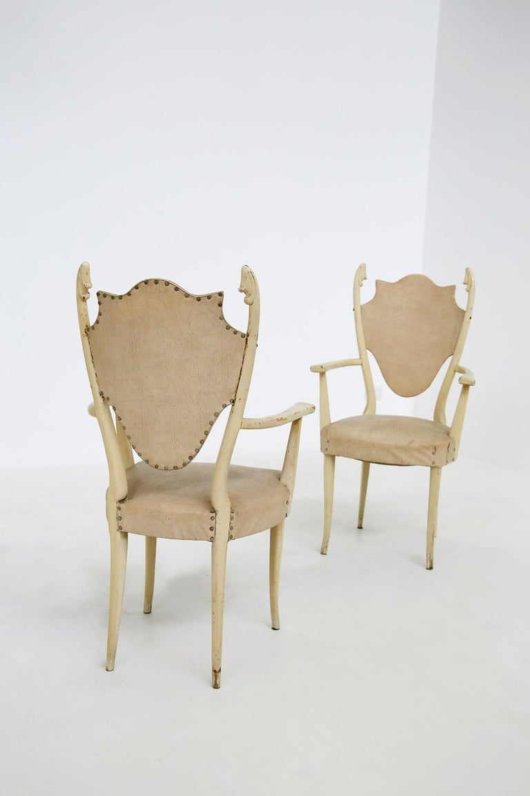 Italian White Chairs by Carlo Enrico Rava in Lacquered Ash Six Pieces, 1950s For Sale 1