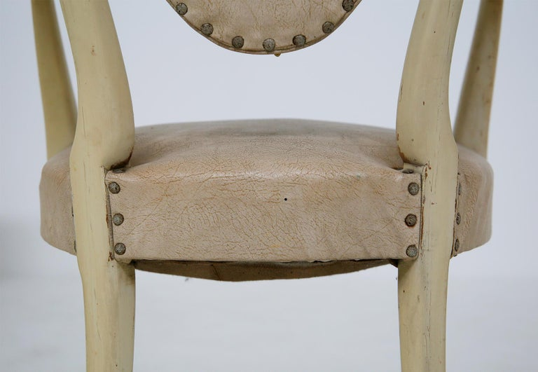 Italian White Chairs by Carlo Enrico Rava in Lacquered Ash Six Pieces, 1950s For Sale 2