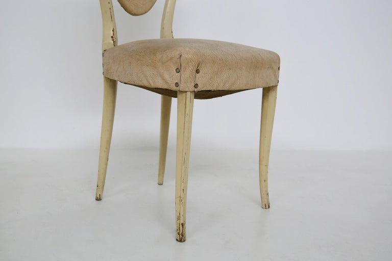 Italian White Chairs by Carlo Enrico Rava in Lacquered Ash Six Pieces, 1950s For Sale 3