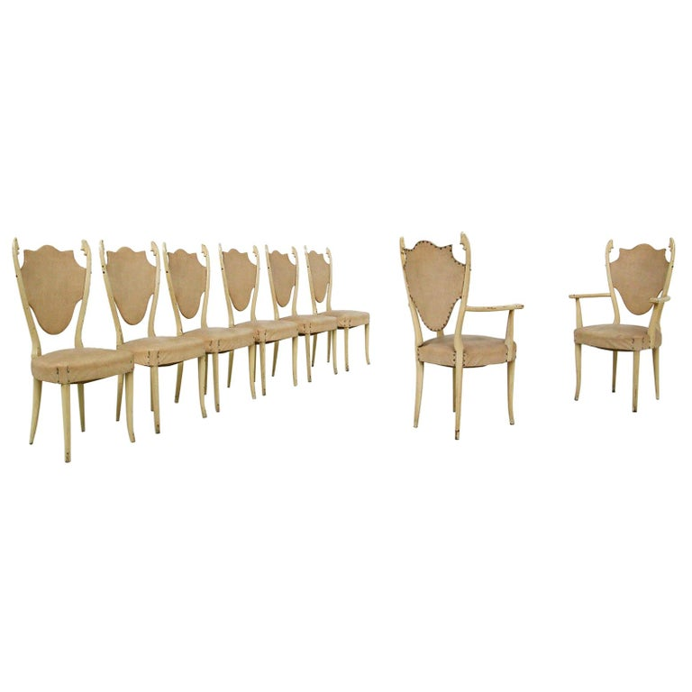Italian White Chairs by Carlo Enrico Rava in Lacquered Ash Six Pieces, 1950s For Sale