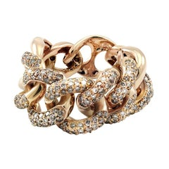 Italian White Diamond 18 Karat Gold Interlocking Link Curb Chain Cocktail Ring