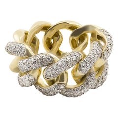 Italian White Diamond 18 Karat Yellow Gold Interlocking Curb Chain Cocktail Ring