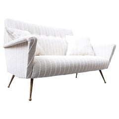 Italian White Fabric Sofa, 1950s, New Upholstery