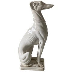 Italian White Glazed Life-Size Seated Greyhound Dog