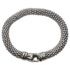 Italian White Gold Mesh Rope Bracelet