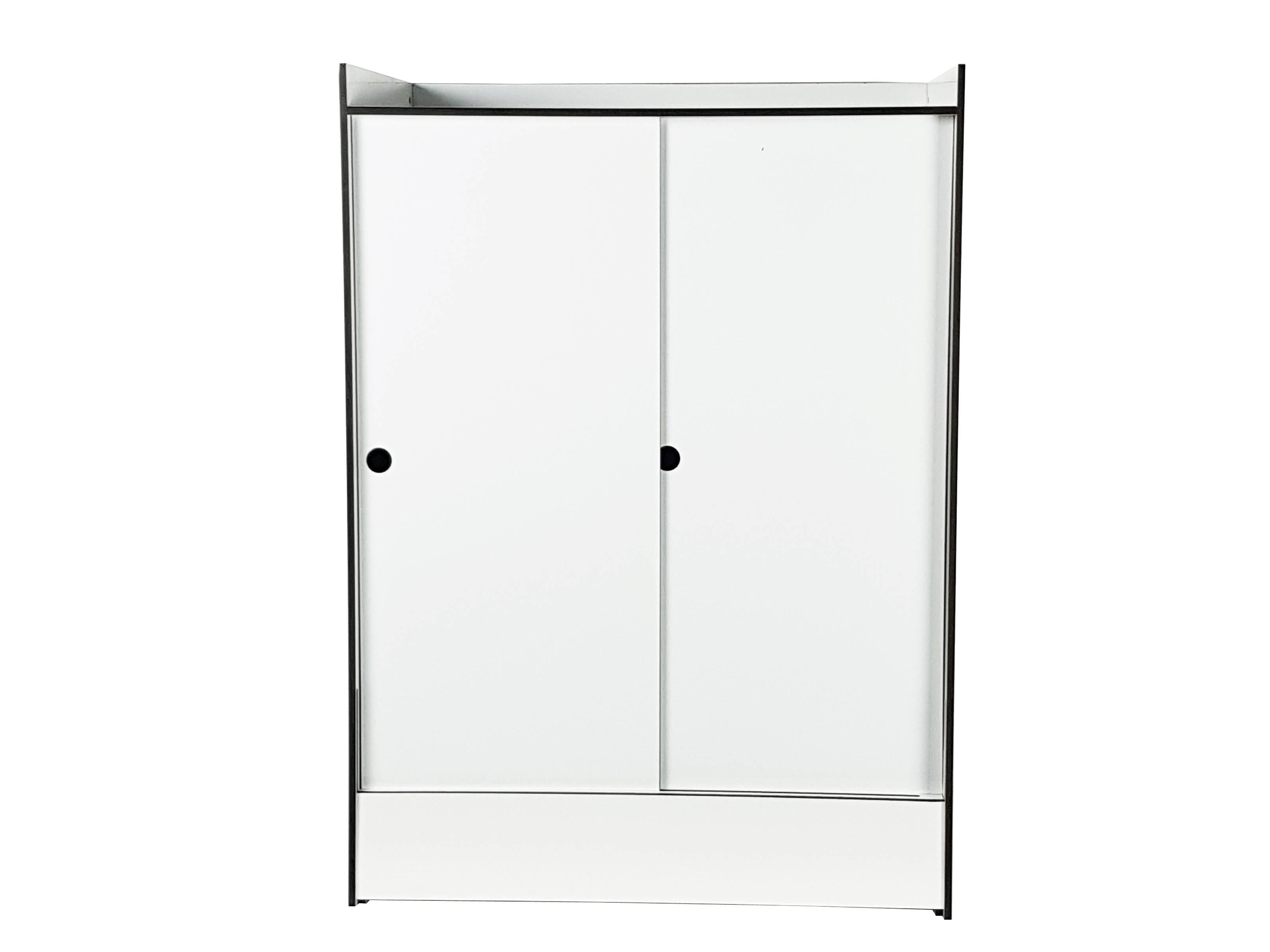 Italian White Laminated Plastic Storage Unit With Shelves And Sliding Doors  For La For Sale At 1stdibs