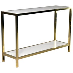 Italian White Marble and Brass Console