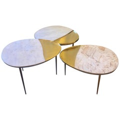 Italian White Marble & Brass Set of Three Ovaloid Coffee Tables