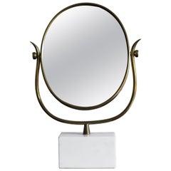 Italian White Marble Brass Table Mirror or Toeletta Mirror, 1950s
