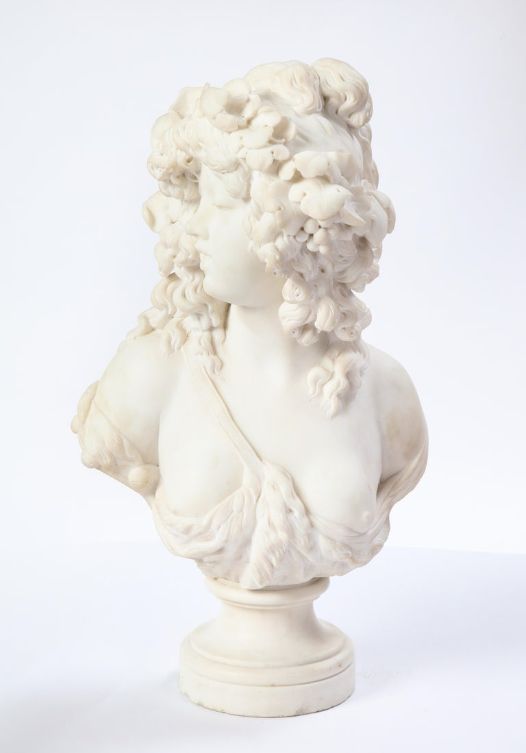 Italian White Marble Bust of a Bacchante, French School, 1830 For Sale 9