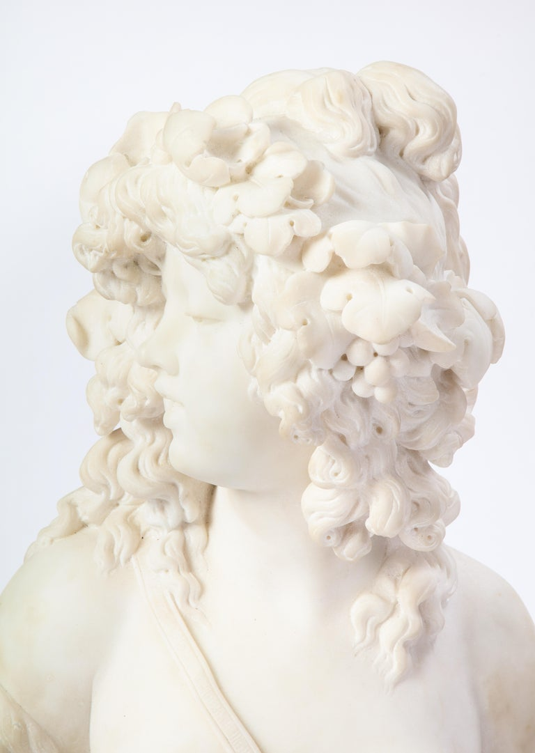 Italian White Marble Bust of a Bacchante, French School, 1830 For Sale 2