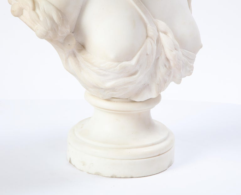 Italian White Marble Bust of a Bacchante, French School, 1830 For Sale 3