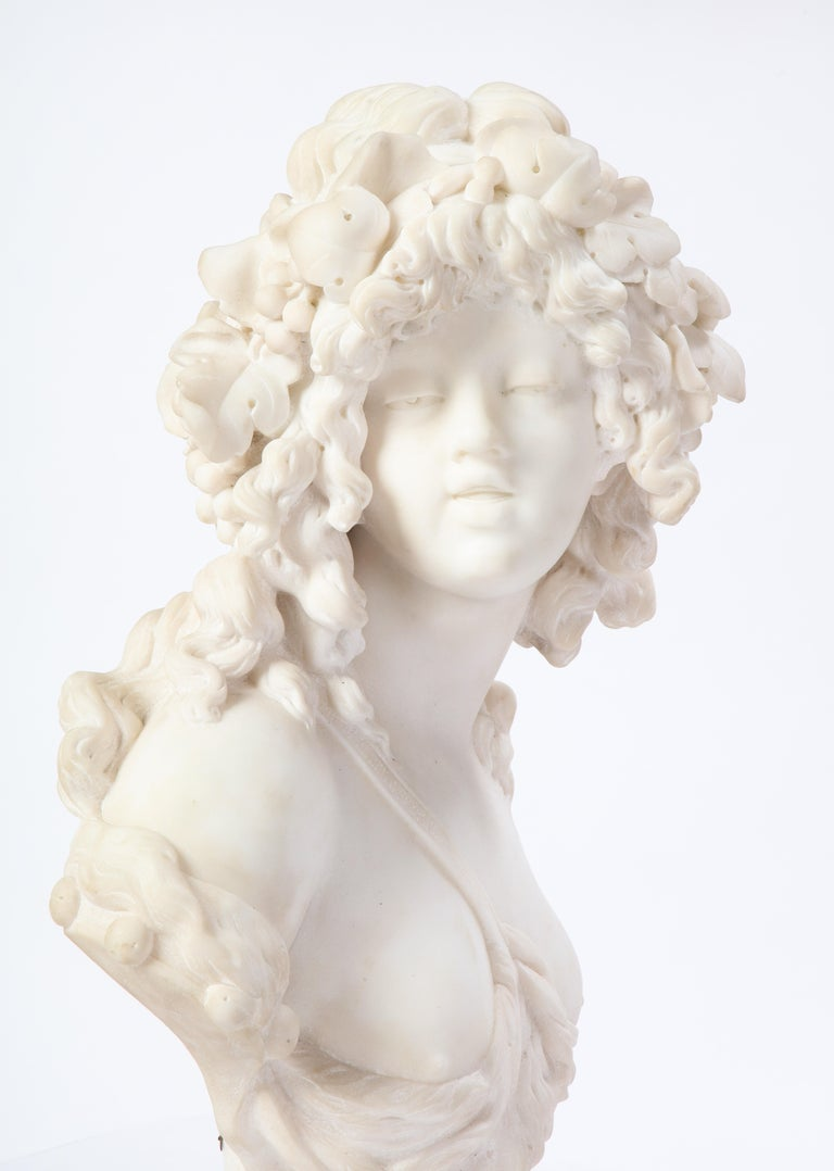 Italian White Marble Bust of a Bacchante, French School, 1830 For Sale 4