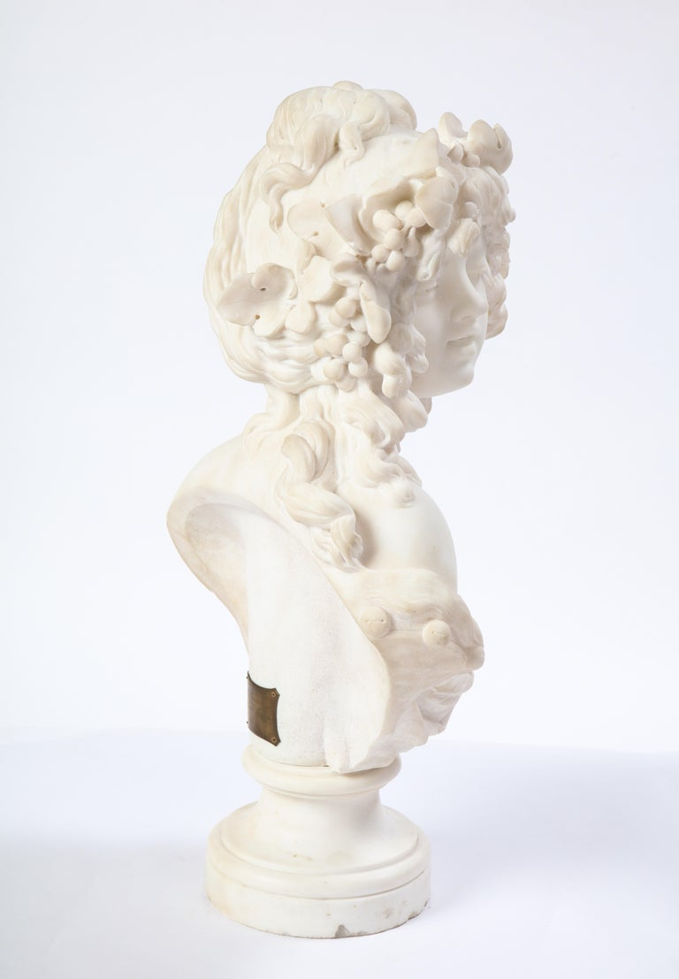 Italian White Marble Bust of a Bacchante, French School, 1830 For Sale 5