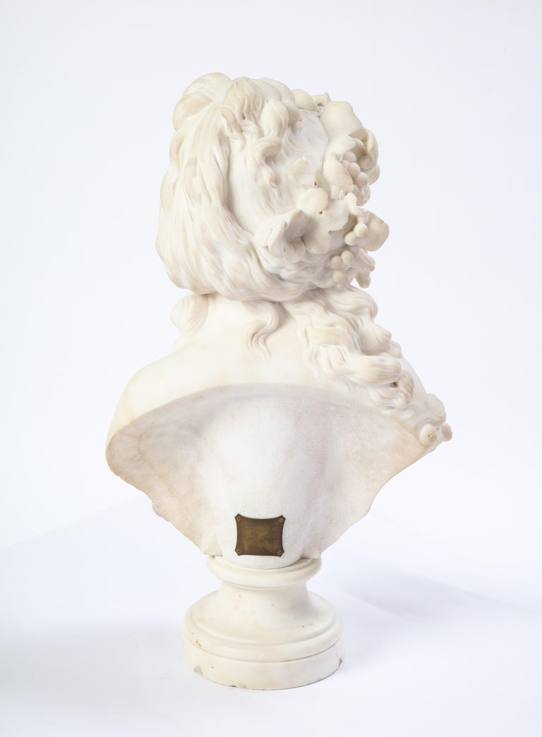 Italian White Marble Bust of a Bacchante, French School, 1830 For Sale 6