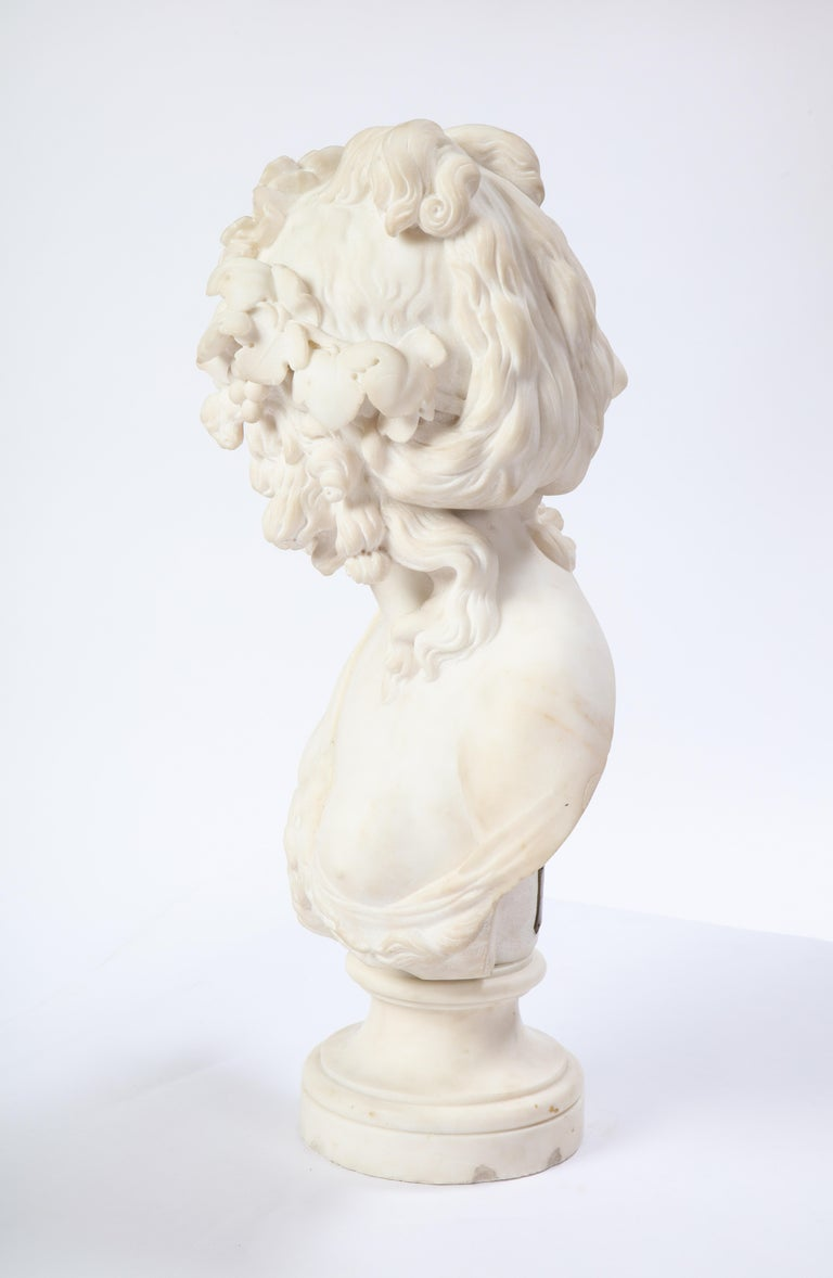 Italian White Marble Bust of a Bacchante, French School, 1830 For Sale 8