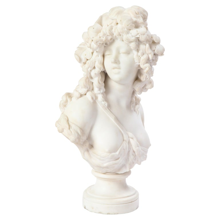 Italian White Marble Bust of a Bacchante, French School, 1830 For Sale