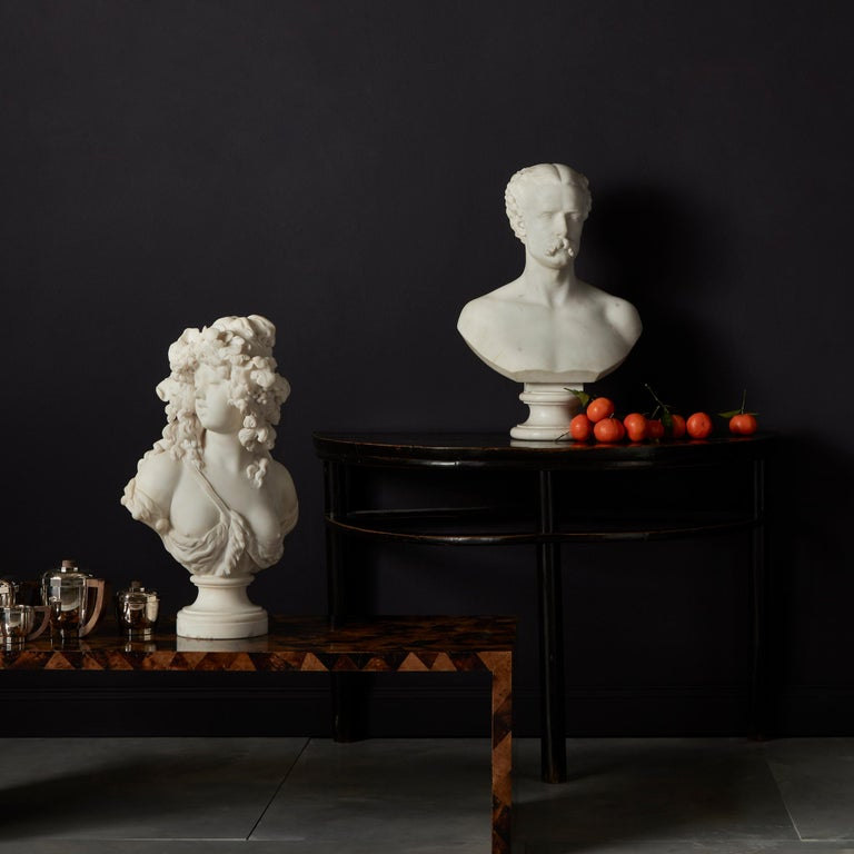 Italian White Marble Bust of a Bacchante, French School, 1830 For Sale 1
