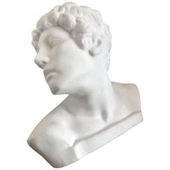 Italian White Marble Bust of David Sculpture Large
