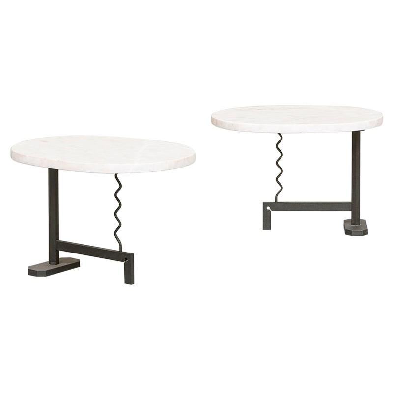 Italian White Marble Coffee Tables by Mac Architecture, 1980s