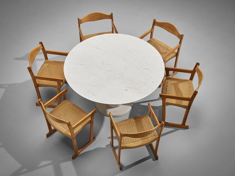 Italian White Marble Dining Table with Set of Six Swedish Dining Chairs in Pine For Sale 4